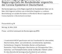 Vereinbarung zwischen der Bundesregierung und den Regierungschefinnen und Regierungschefs der Bundesländer angesichts der Corona-Epidemie in Deutschland