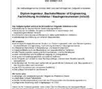 Diplom-Ingenieur, Bachelor/Master of Engineering, Fachrichtung Architektur / Bauingenieurwesen (m/w/d)